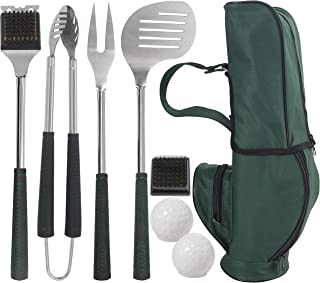 Grilljoy 8pcs Heavy Duty BBQ Grill Tools set.Extra Thick Stainless Steel Fork, Spatula,Tongs & Cleaning Brush.Complete Golf-Style Grilling Accessories with Long Heat-resistant Grip.Dishwasher Safe