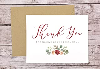 Thank You For Making Me Look Beautiful Card, Hair Stylist Thank You Card, Makeup Artist Thank You Card, Wedding Vendor Thank You (FPS0066)