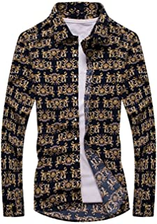 SDHEIJKY Fashion Floral Print Slim Fit Shirts Men's Long Sleeve Casual Dress