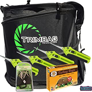 Trimbag Premium Complete Dry Trimming Kit Bundle with 4 Common Culture Trimming Scissors, 1 Pair of Grow Crew Ratchet Hangers, 10 Pack of Turkey Bags and Accessories (7 Items)