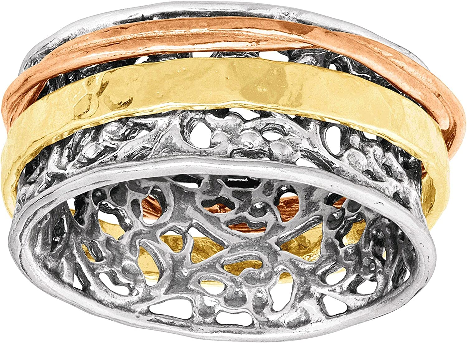Silpada 'Ready To Glow' Three-Tone in Spinner Ring Silv Sterling Sale price Dealing full price reduction