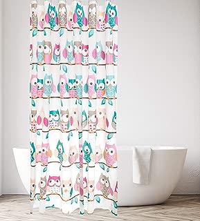 kieragrace KG Beth PEVA Shower Curtain 71-Inch, Teal and Pink Owls Bath Accessory,