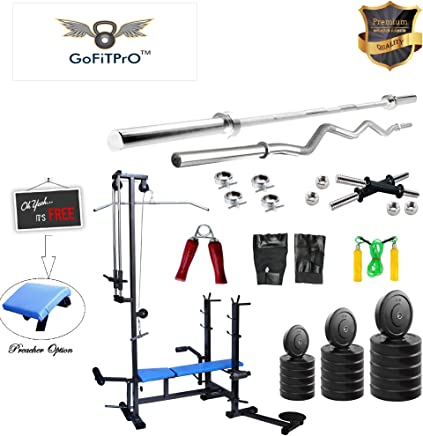 GoFiTPrO Rubber Home Gym with 20 in 1 Bench, 5 Plain Rod and 3ft Curl Rod, 50kg (Multicolour)