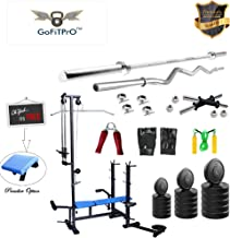 GoFiTPrO 20 in 1 Bench with 100 Kg Rubber Weight Home Gym +5 Plain Rod + 3 Ft Curl Rod (WB)