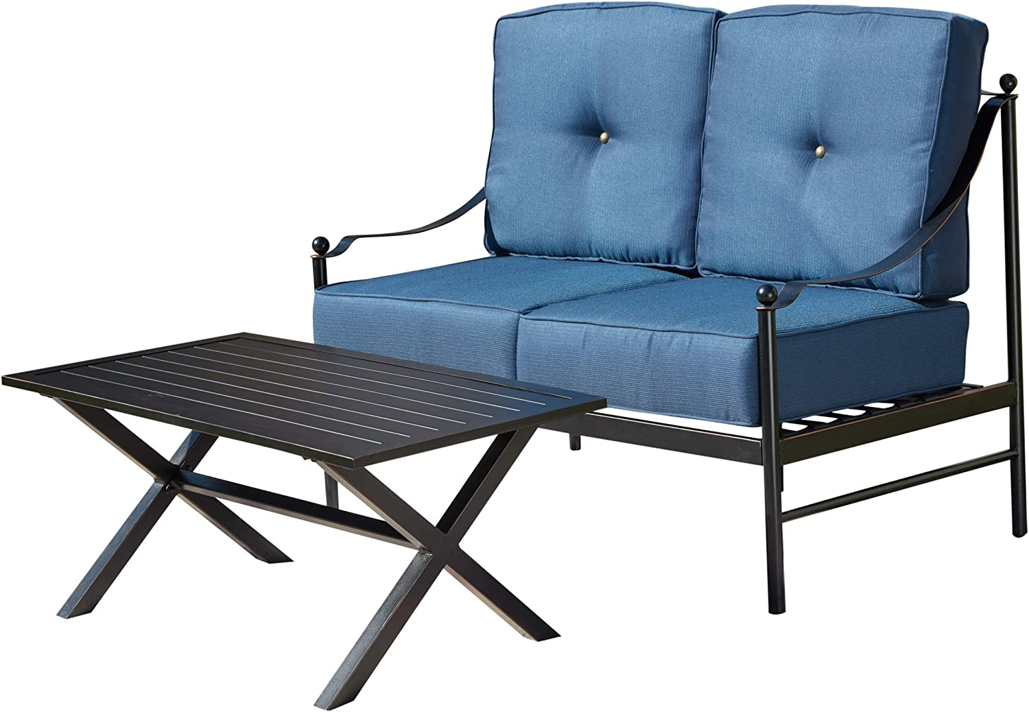 LOKATSE HOME 2-Piece Outdoor Patio Max 73% OFF 1 Low price Set Loveseat Furniture with