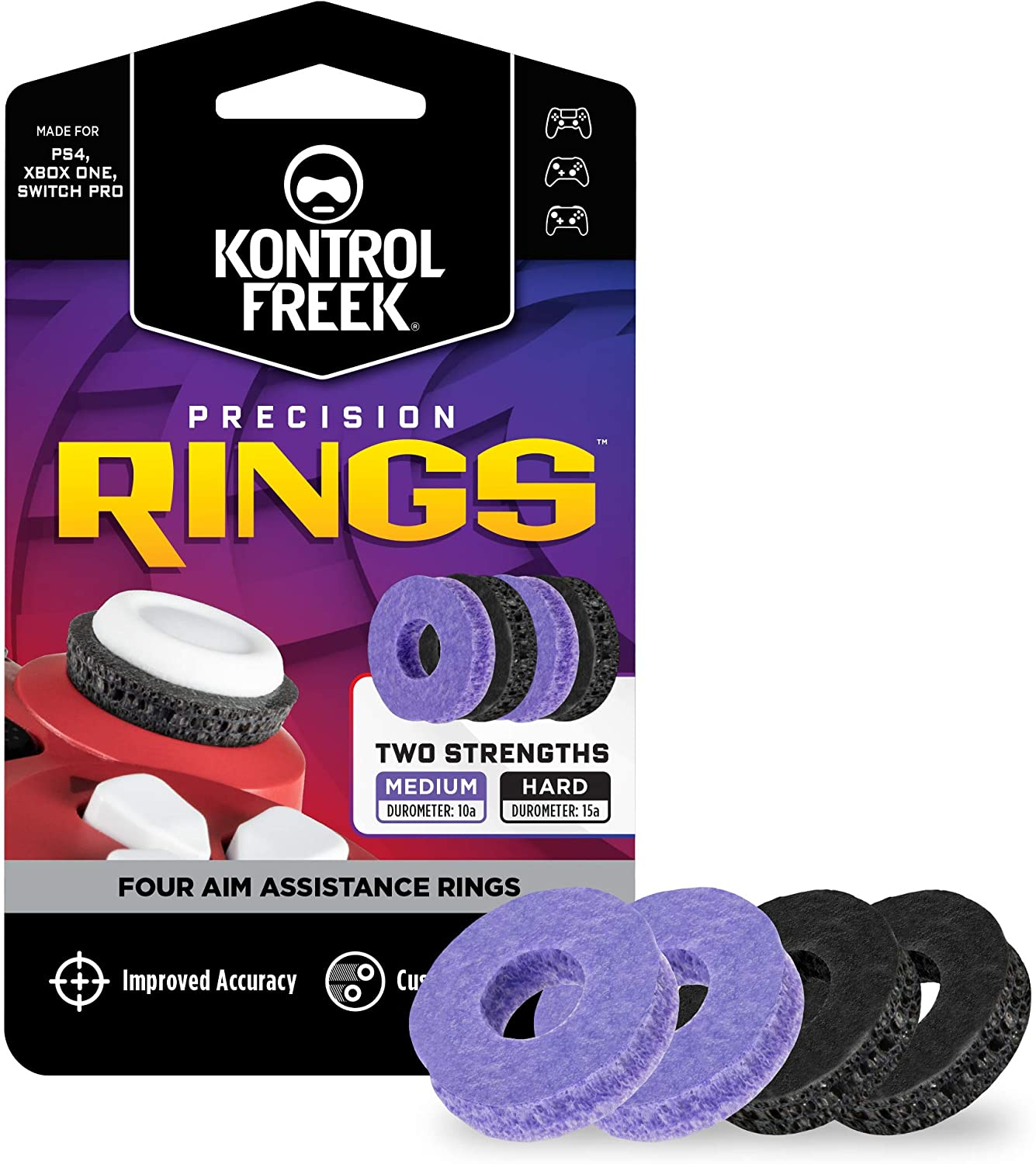 KontrolFreek Precision Rings | Aim Assist Motion Control for PlayStation 4 (PS4), PlayStation 5 (PS5), Xbox One, Switch Pro & Scuf Controller | 2 Different Strengths