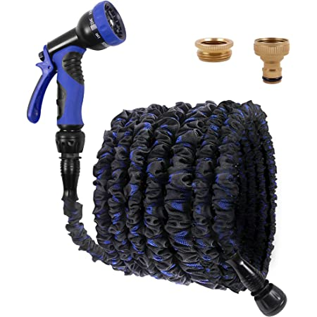 Expandable Garden Hose 100FT 3 Times Magic Hose Pipe - with 9 Function Spray Gun/Brass Fittings/Quick Connector, Durable& Felxible Anti-Leakage Water Pipes for Garden, Home, Car Cleaning
