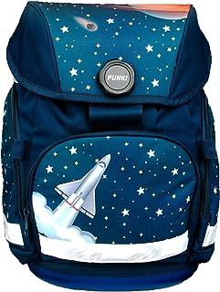 Joy-Bag Space - Juego de mochila escolar de 4 piezas para niños y niñas, juego completo de mochila escolar, estuche, bolsa redonda y bolsa de deporte con diseño de misiles, poliéster