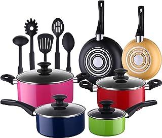 COOKSMARK Batería de Cocina 15 Piezas Juego de Ollas y Sartenes Multicolor de 3 Capas Antiadherentes Juego de Utensilios de Nylon de Cocina