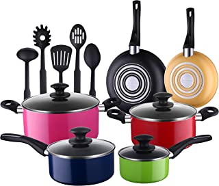 Cooksmark 15 Piece Cookware Set; Heavy Duty and Durable, Triple Layered Non-Stick, Even Heat Distribution, Heat Resistant Handles, Warp Resistant Cookware; Set Includes 5 FDA Grade Nylon Utensils