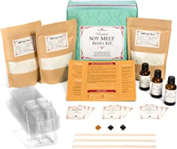 Premium Soy Melt Making Kit Refill – DIY Set Creates 9 Delightfully Scented Natural Soy Melts by Essential Reserve (Refill Pack #4 - Indian Sandalwood, Patchouli, Vanilla Dreams)