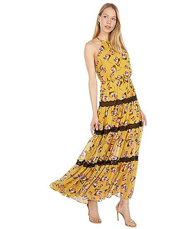 BCBGMAXAZRIA Printed Midi Halter Dress