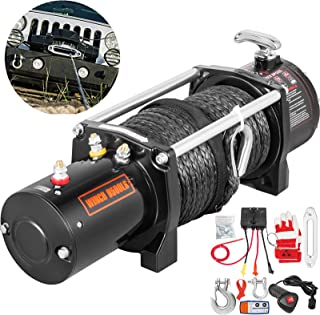 VEVOR Truck Winch 9500Ibs Electric Winch 85ft/26m Synthetic Rope 12V Power Winch Jeep Winch with Wireless Remote Control Powerful Motor for UTV ATV & Jeep Truck and Wrangler Accessories in Car Lift