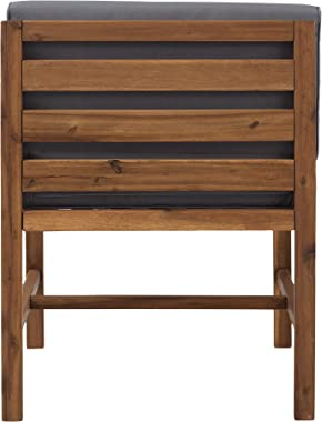 Walker Edison Ravello Contemporary Acacia Wood Armless Outdoor Modular Chair with Cushions, 30 Inch, Brown