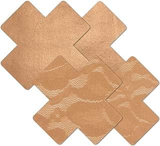 Women's Tan Caramel Cross Waterproof Adhesive Fabric Nipple Cover Pasties