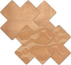 Nippies Women's Tan Caramel Cross Waterproof Adhesive Fabric Nipple Cover Pasties