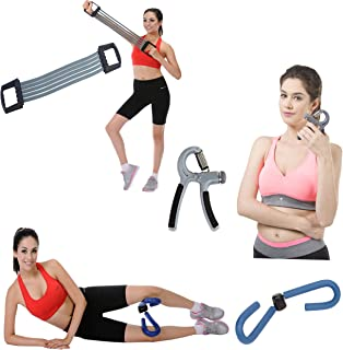 Home Fitness Combo Chest Expander, Adjustable Hand Gripper and Thigh Master Unique Exercise Routines Toning, Sculpting and Great Grip Strength
