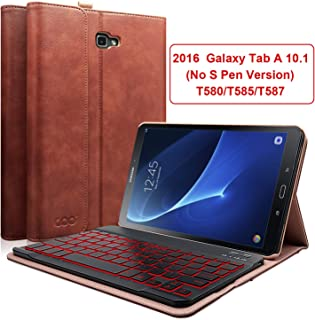 COO Keyboard Case for Galaxy Tab A 10.1 2016 (No S Pen Version), PU Leather Case with Detachable Backlit Wireless Keyboard Compatible Samsung Galaxy Tab A 10.1 (Model SM-T580/T585/T587) (Brown)