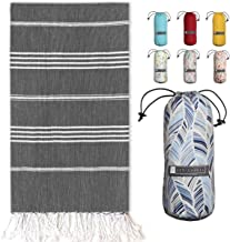 "Turkish Towel with Beach/Travel Bag (39"" x 71"") - Pre-Washed - 100% Cotton Bath Towels - Effective, Absorbent and Quick Dr..."