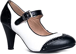 J. Adams Mary Jane Oxford Pumps - Cute Low Kitten Heels - Retro Round Toe Shoe with Ankle Strap - Kym