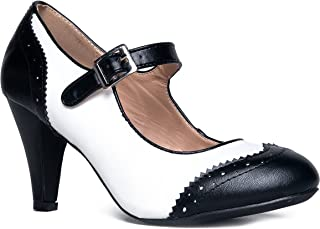 J. Adams Mary Jane Oxford Pumps - Cute Low Kitten Heels - Retro Round Toe Shoe with Ankle Strap - Kym by