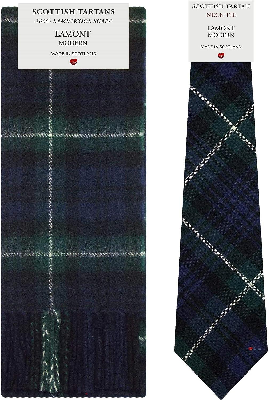 Lamont Modern Tartan Plaid 100% Lambswool Scarf & Tie Gift Set