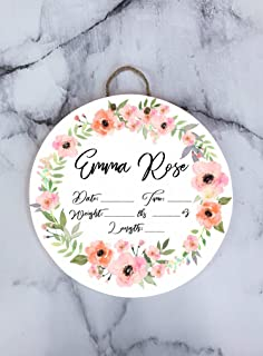 Custom Name Floral Print Pink Newborn Baby Birth Announcement Hospital Door Hanger Wood Sign