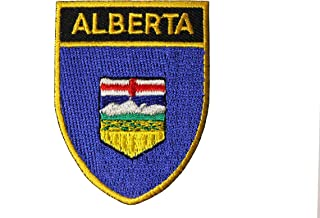 Alberta Provincial Flag Shield Shape with Gold Trim Embroidered Iron on Patch Crest Badge.Size : 2.5