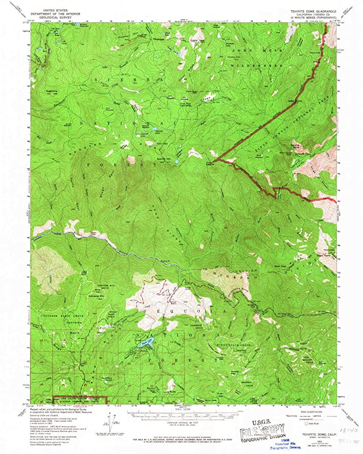 YellowMaps Tehipite Dome CA topo map, 1:62500 Scale, 15 X 15 Minute, Historical, 1952, Updated 1967, 20.8 x 16.6 in