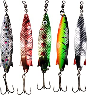 thkfish Fishing Spoon Lures, 5pcs Hard Fishing Lures with Clicker Tail Extra Flash Sound Fishing Lures with Treble Hooks, Great Lure for Bass Pike Trout Fishing Spoon Lures