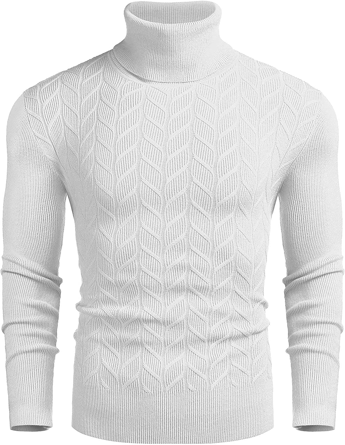 COOFANDY Men's Slim Fit Turtleneck Sweater Casual Pullover Sweater Basic Twist Patterned Knitted Sweater