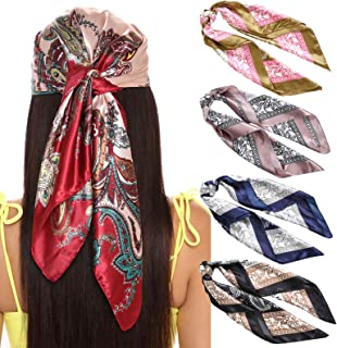 35 Inches Women Head Scarf Hair Bandanas - 4PCS Square Satin Head Scarves for Women Silk Like Hair Kerchief Banadanas