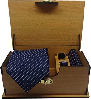Luxeis Men Premium cotton silk Neck Tie and Pocket Square with Cufflink Combo Gift Set in Premium Wooden Box(Navy Blue, Fr...