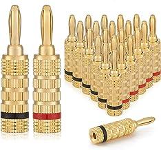 WGGE WG-3333 24k Gold Plated Speaker Banana Plugs-Closed Screw Type (12 Pairs (24 Plugs))