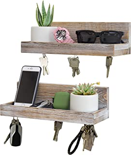 Magnetic Key Shelf with Ledge, Key Holder, Entryway Mail Wall Organizer, 12 in L x 4 W, Distressed White