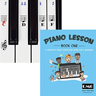 Piano and Keyboard Stickers and Complete Piano Music Lesson and Guide Book for Kids and Beginners