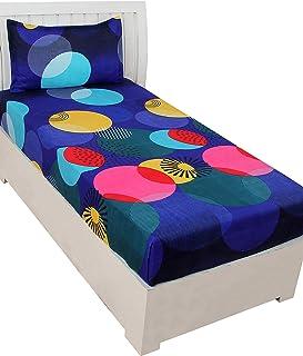 BSB HOME Cotton 140TC Bedsheet (Single_Blue & Yellow)