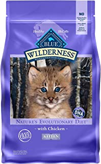 Blue Buffalo Wilderness High Protein Grain Free Natural Kitten Dry Cat Food, Chicken 5 Lb