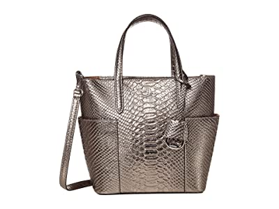 LAUREN Ralph Lauren Bold Python Embossed Carlyle 20 Tote Mini (Silver) Handbags