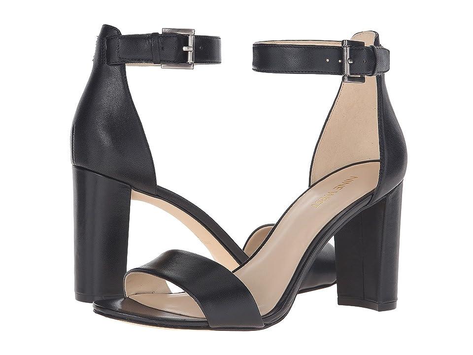 Nine West Nora Block Heel Sandal (Black Leather) Women