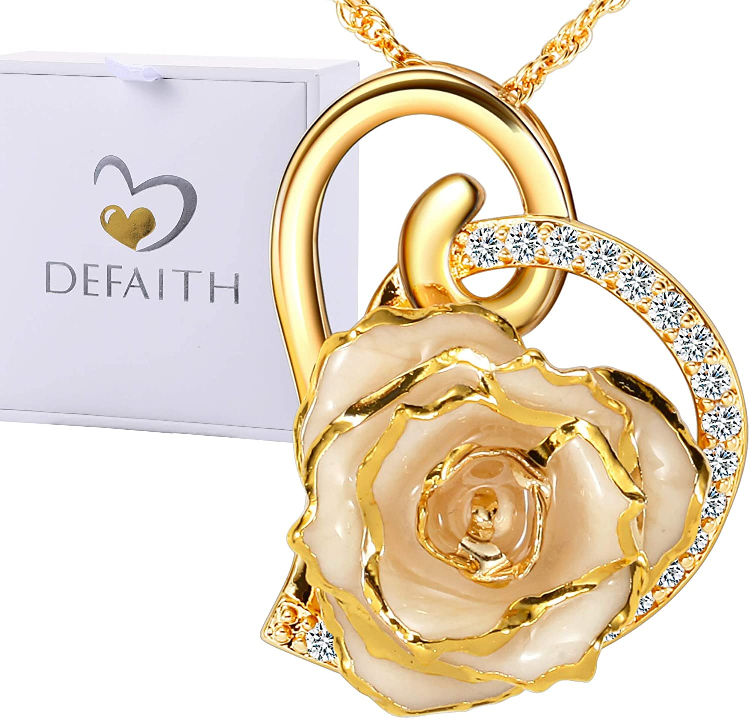 DEFAITH Real Rose Pendant Necklace 24K Gold Dipped, Best Gifts for her Wife Girlfriend Mother Women for Anniversary Valentine's Day Birthday