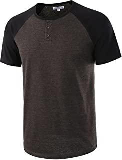 HARBETH Men`s Casual Short Sleeve Henley Shirt Raglan Fit Baseball T-Shirts Tee
