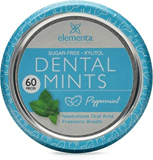 Elementa Natural Sugar-Free Breath Mints for Oral Care | 60 Pcs | Non-GMO + Vegan Friendly, Neutralizes Oral Acid, Soothes Dry Mouth (Peppermint)