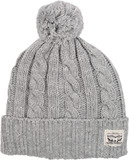 Men's Pompom Cable Beanie Hat, Charcoal, One Size