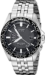 Men's Eco-Drive World Perpetual Atomic Timekeeping Stainless Steel Watch with Date, CB0020-50E