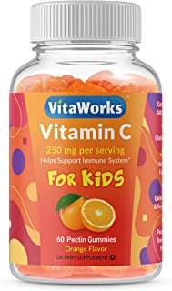 VitaWorks Vitamin C for Kids – 250mg – Great Tasting Natural Gummy Supplement – Gluten Free Vegetarian GMO-Free Chewable A...