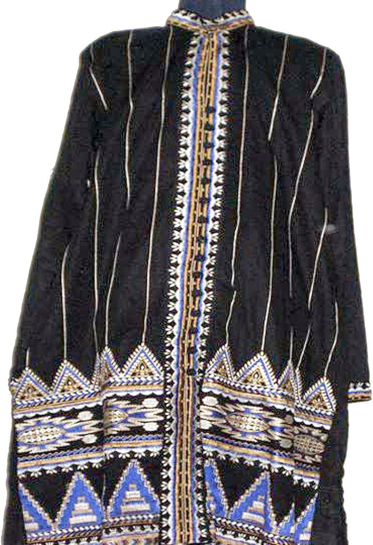 Casual Dresses for Women Fashion  2 Piece Cotton Black Pakistani Dress, Medium