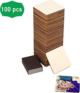 100 Pc Set of Unfinished Wood Squares Measure 4x4x0.1 Inch (10x10x0.25cm) with Bonus Sander | DIY Arts and Crafts Projects, Painting, Woodburning, Signs and More | Wood Pieces are Smooth and Durable
