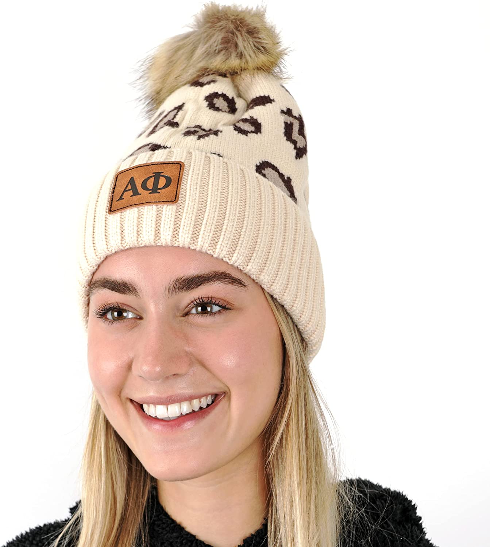 Sorority Shop - Alpha Phi Beanie Hat - Leopard Print - AP Name Patch