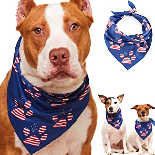 Odi Style American Flag Dog Bandana - Patriotic 4th of July Dog Bandana for Small, Medium, Large Dogs, US Flag Independence Day Dog Puppy Collar Bandana for Dogs Puppies Cats with Paw Print, Blue